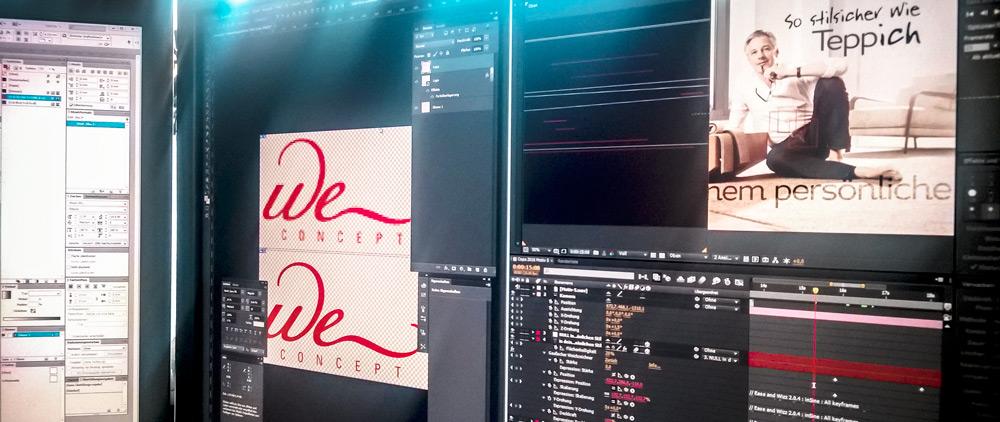 Blick auf einen unserer 30 Zoll Bildschirme. An meinem Arbeitsplatz z. B. stehen zwei 30 Zoll Monitore, um mir genügend Überblick – auch bei umfangreichen Projekten in z. B. After Effects oder Photoshop – zu verschaffen.